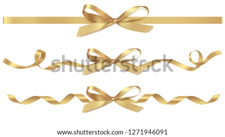 Set of decorative golden bows with horizontal gold ribbons isolated on white. Vector yellow gift bow with curled ribbon for page decor. New year holiday decorations  #1271946091
