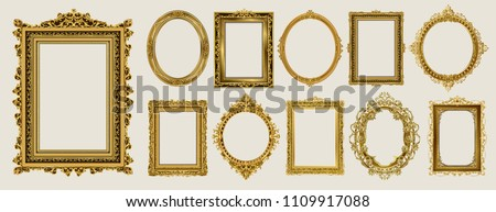 Set of Decorative vintage frames and borders set,Oval Gold photo frame with corner Thailand line floral for picture, Vector design decoration pattern style. border design is pattern Thai art style #1109917088