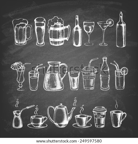 Set of different hand drawn beverages on the blackboard. Vector illustration.