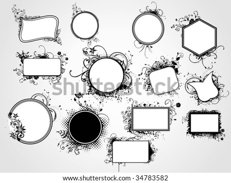Circle Shaped Floral Tattoos on Set Of Distinct Shape Artistic Floral Frame  Vector Illustration