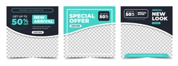 Set of Editable minimal square banner template. blue and green background color with stripe line shape. Suitable for social media post and web internet ads. Vector illustration with photo college
