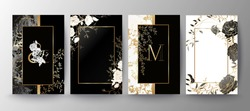 Set of elegant brochure, card, background, cover, wedding invitation. Black and golden marble texture. Geometric frame. Hand drawn fllowers. Floral arrangements.
