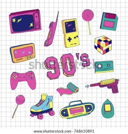 set of elements in trendy 80s