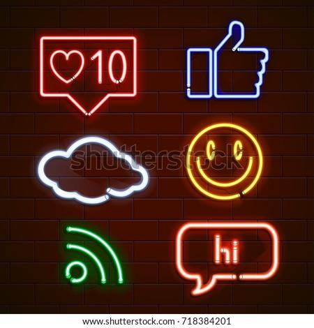 Set of emoticons, glowing emoji isolated on black background. Vector illustration