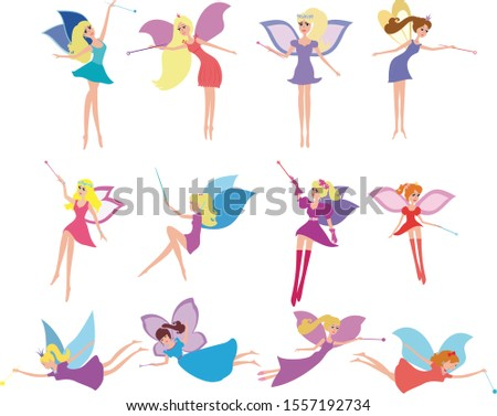 Set of fairies in cartoon style vector illustration isolated. Cartoon fairy vector set. Collection of fairies with wings and fairies with a magic wand fairy sitting, fairy standing, fairy flying.