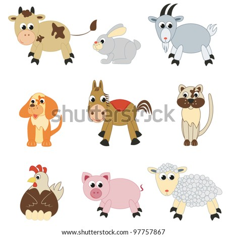 Set of farm animals on white background(vector)