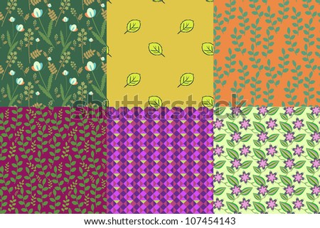 Set of 6 floral and abstract patterns