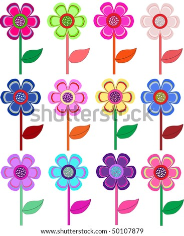 Set of flowers in different shapes, color. Vector