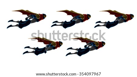 5 set of flying ninja samurai