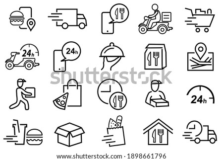 20 Set of Food Delivery Related Vector Line Icons. Contains such Icons as Courier, Food Box, trolley, motorcycle, Food Packages, Contactless Delivery, and more, Editable Stroke