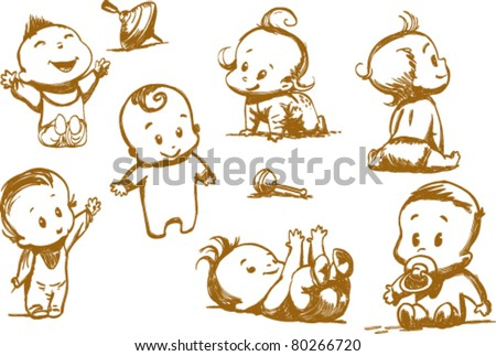 set of  funny babies on a