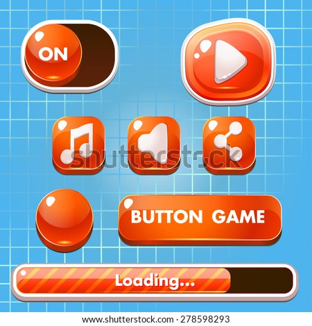 Set of game  buttons,  progress bars, boosters, icons for user interface design of computer, mobile  games.