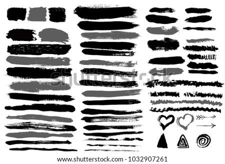 Set of grunge vector brush strokes #1032907261