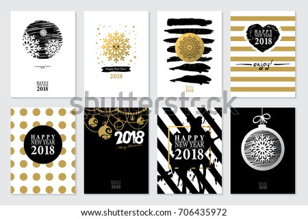 2018 set of happy new year card or background trendy style with hand lettering