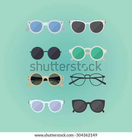 set of hipster glasses flat