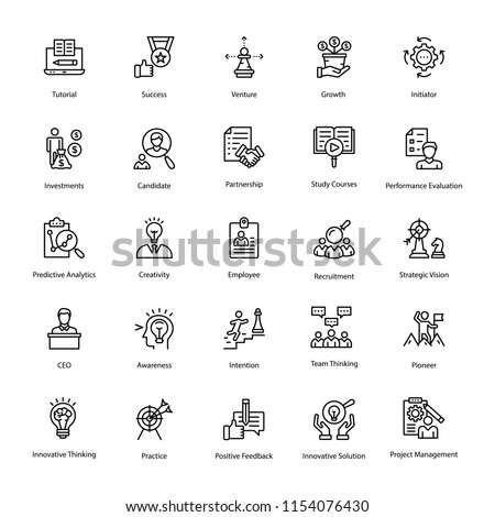 Set of Human Resource Line Vector Icons
