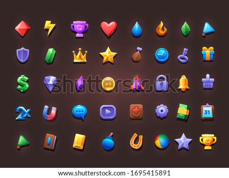 Set of icons for creating 2d game and app. Vector icons on isolate background. Vector illustration.