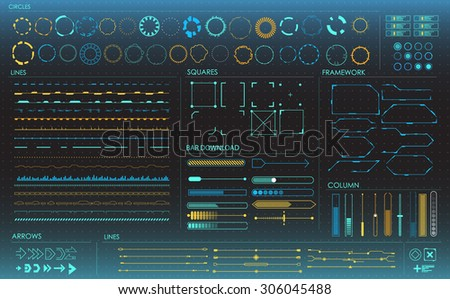 set of infographic elements. Head-up display elements for the web and app. Futuristic user interface. Virtual graphic.