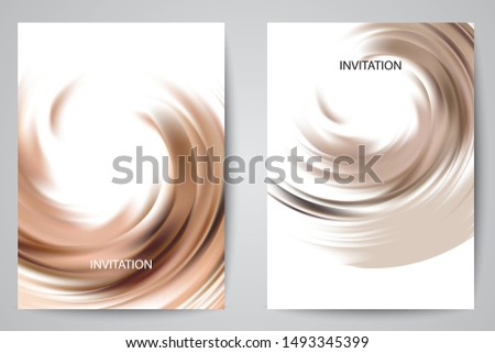 Set of light banners with swirling swirl elements.