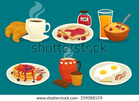 Set of light breakfast icons made in cartoon  style isolated vector illustration