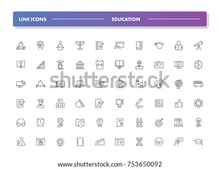 3. Set of 60 line icons. Education collection. Vector illustration or studying, learning, teaching, wisdom and knowledge.