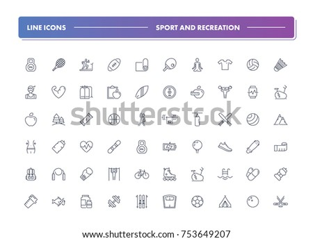7. Set of 60 line icons. Sport and recreation collection. Vector illustration for activity life and gym, health. Team and single, extreme, water sports