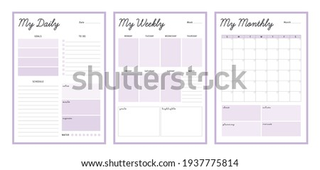 3 Set of minimalist pastel color planners. My Daily, weekly, monthly planner template (Purple). Clear and simple printable to do list. Business organizer page. Paper sheet. Foto stock ©