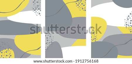 set of promotional cards in gray yellow trending colors