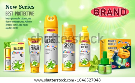 Set of protective facilities from insects for children. Containers and tubes for cream, lotion, gel, balsam, spray, aerosol. 3D realistic isolated vector illustration.