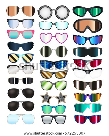 set of real colorful style glasses vector