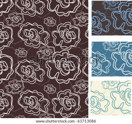 Set of seamless floral patterns - vector illustration