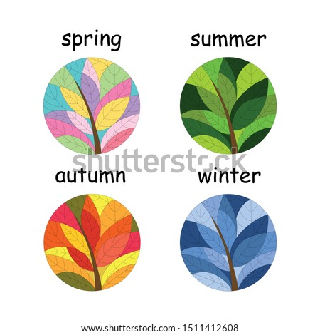 set of seasons illustrations
