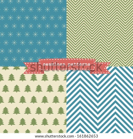 Set of simple retro Christmas patterns