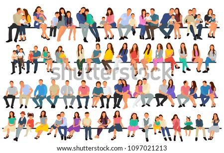set of sitting people, flat style