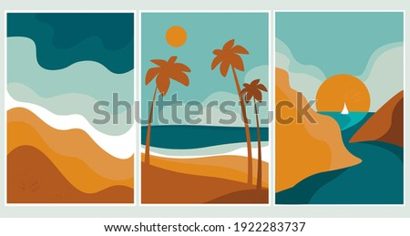 Set of summer abstract content modern landscape poster banner illustration, background in yellow and blue colors. Sandy beach, mountains, beach on the sea, palms, ocean. Vector graphics