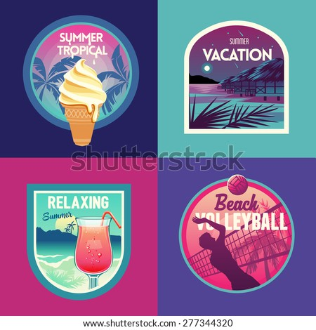Set of summer vacation and beach party labels and badges #277344320