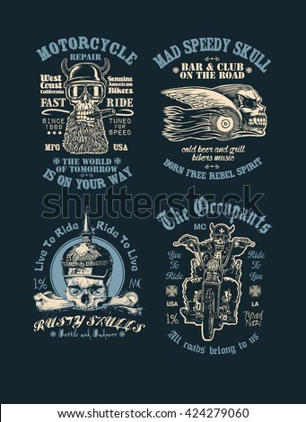 set of t shirt prints with