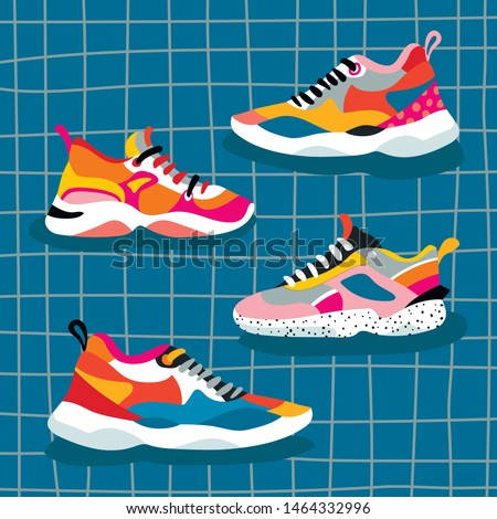 set of 4 ugly shoes sneakers
