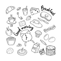 Set of vector drawings of breakfast products. Food illustrations: coffee, tea, scrambled eggs and bacon, buttered sandwich, cheese, croissant, apple, pancakes, a carton of milk, candy, muffin