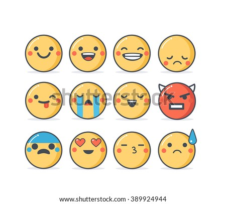 set of vector emoticons in
