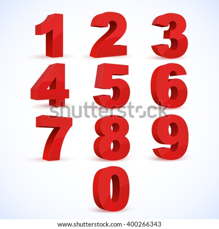 Set of vector numbers, from 1 to 0. Eps 10. #400266343