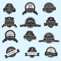 Set of 12 Vector Premium Quality labels