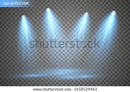 Set of vector spotlights. Scene. Lighting effects. Vector graphics. Foto stock ©