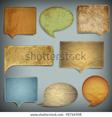 Set of vintage bubbles for speech.Vector old paper texture