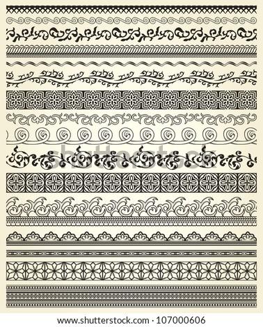 Set of vintage lines on beige background #107000606