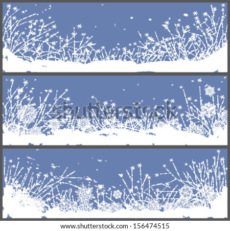 set of 3 winter banners with