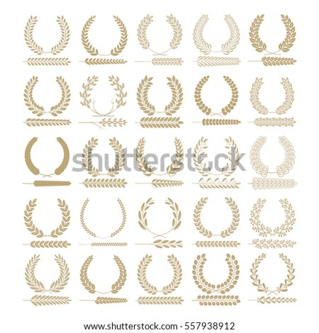 set of wreaths vector circular