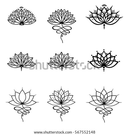 Vector Images Illustrations And Cliparts Set Ornamental Lotus