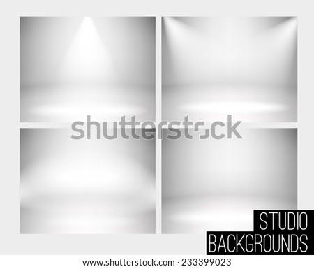 4 set studio backdrop vector