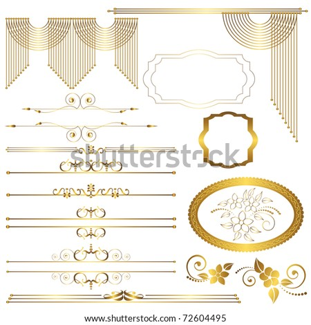 Set. Vintage calligraphic design elements. vector.